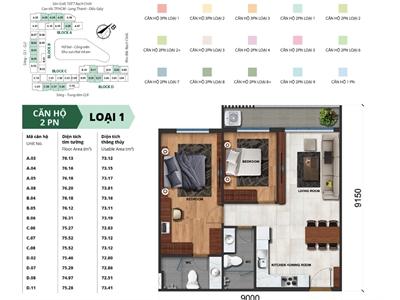 Mặt bằng chi tiết căn hộ 2 phòng ngủ Jamila Quận 9
